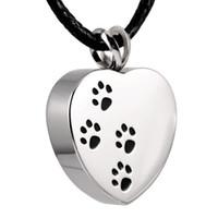 IJD8004 en acier inoxydable quatre urne crémation coeur d'impression patte pendentif pour les cendres pets personnalisé gravure avec livraison gratuite