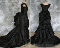 Tafetá Frisada Gótico Vitoriano Bustle Vestido com Trem Vampiro Bola Masquerade Halloween Black Wedding Dress Steampunk Goth do século 19