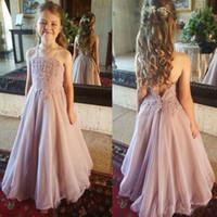 المتربة الوردي فساتين زهرة فتاة لحفلات الزفاف الرباط الأشرطة السباغيتي الشيفون الطابق طول بنات مسابقة ثوب فساتين بالتواصل الأولى