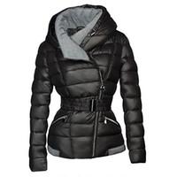 Casacos de Inverno Mulheres Parkas Algodão Quente Revestimento Curto Casaco com Cinto Slim Casual Zipper Gothic Black Outerwear Overcoats
