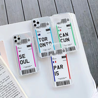 Creative-Flugticket-Fall für iPhone 11 pro max x xr Land London Paris Tokyo New York Houston Chicago Transparent Anti-Fall-Soft Cover