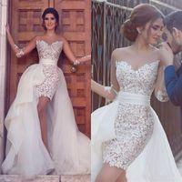 Arabic Long Sleeve Lace 웨딩 드레스 Tulle 분리형 기차 환상 짧은 해변 신부 가운 roomes de mariée