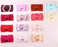 Süße weiche Spitze Stirnband-Baby-Haar-Zusätze Jacquard-Knoten-Haar-Bogen-Softband Großhandel 27 Farben Europäische nette Kopfband Boutique 2019