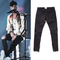 Zippers Skinny Slim Fit Jeans uomo Distressed Justin Bieber Nero Cotton Denim Pants New Hot Fashion 2019 Fear of God FOG Uomo Jean