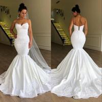 아프리카 플러스 사이즈 인어 코르셋 웨딩 드레스 신부 가운 Vestido de Noiva 가운 드 마리레 스파게티 목 레이스 업