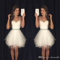 2019 Nuovo arrivo Vestido Formatura Curto Homecoming Abiti Sweetheart perline cinghie Increspato Backless Breve Little White Prom Dresses