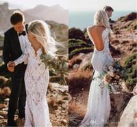 2019 vestidos de casamento de laço boêmio sexy sereia mangas compridas chão comprimento backless beach boho jardim vestidos de noiva ver através de