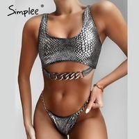Simplee atractivo empuje hacia arriba del bikini estampado de serpiente traje de baño traje de baño de las mujeres de neón 2020 traje de baño femenino de la cadena brasileña de la playa biquini desgaste