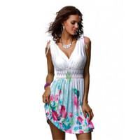 Le donne Boho Sleeveless sexy Summer Dress Femminile profondo scollo a V da cocktail Beach brevi mini vestiti bretelle vestito stampato Vestidos