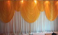 6m / 20피트 (w) × 3m / 10피트 (H) 골드 그물 결혼식 흰색 웨딩 배경 커튼 결혼식 배경 베일 소품