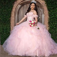 Blush Pink Ball Gown Beaded Quinceanera Dresses Off The Shoulder Neck Appliqued Formal Gown 3D Appliqued Sweet 16 Dress
