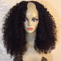 1 * 4 sinistro di apertura U dei capelli umani delle donne 9A parrucche per il nero del Virgin brasiliano riccio crespo upart parrucche 130% 150% 180% Densità