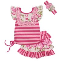 New 2019 Summer Girls Clothing Set Baby Girls Floral Striped...
