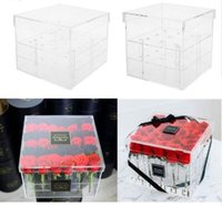 Clear Acrylic Rose Flower Box Makeup Organizer New Fashion C...