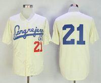 베이지 로베르토 클레멘테 저지 # 21 Santurce Crabbers 야구 유니폼 야구에서 푸에르토 리코 스티치 버튼 다운 버튼 다운 셔츠 무료 배송