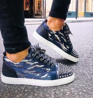 Nueva creatividad Zapatos de marca, de lujo inferiores rojos de los hombres top del alto de las zapatillas de deporte de los hombres Spikes Orlato Con Jacquard cuero genuino planta del pie roja zapatos de los planos gratuito