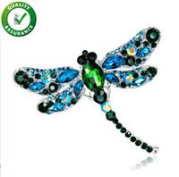DesignerCrystal Vintage Dragonfly Spille donne vestono il modo Pin grosso insetto Spilla accessori del cappotto regalo strass Shinny monili svegli