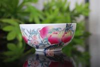 Tazón de China Jingdezhen porcelana longevidad tazón longevidad hueso de durazno Hueso China sobre la pared durazno durazno solo tazón