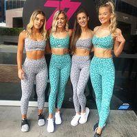 2 pour 2019 femmes pièces Ens Mult couleur imprimé léopard Soutien-gorge sport Pantalon Yoga Porter Set Racerback Bra et collants de guêtres