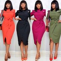 허리 벨트 짧은 소매 Bodycon 우아한 고급스러운 겸손한 작업복 패션 여성 Vestidos 새로운 여성 사무실 숙녀 드레스