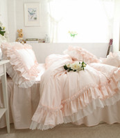 Il lusso del cotone rosa letto di regina re copripiumino lenzuolo della principessa del merletto Consolatore copriletto BedDress Ruffle coreana americana Bedding