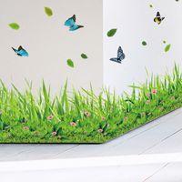 % Di primavera fiore colorato erba farfalla Zoccolino Linea adesivo fai da te a casa decalcomania della parete Baseboard matrimonio Cucina Bagno Mobili
