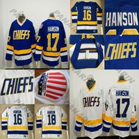 Charlestown 16 Jack Hanson Jerseys 17 Steve Han Han Jersey Jersey Broderie Vintage 18 Jeff Hanson CCM Hockey Jerseys