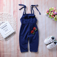 Baby girl rose embroidered print strapless sleeveless jumpsu...