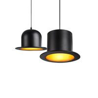 Lampadario retrò Jazz Top Hat Lampada a sospensione in alluminio 110v 220v E27 Esterno nero interno Golden Bar Counter Bedroom Cafe Lamp