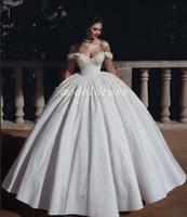 Принцесса Батист бальное платье Свадебные платья с плеча длиной до пола цветы бусины Церковь сад свадебное платье плюс размер Vestido de novia 2020