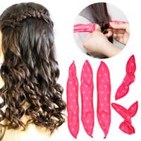 Hayır Isı Sihirli Saç Curlers Spiral Rulo Şekillendirme Araçları Sünger Yastık Yumuşak Esnek Dalga Magic Silindirler Salon Saç Curlers ile Bag Toptancı