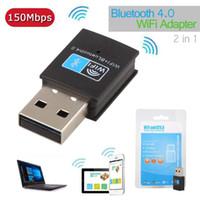 Bluetooth 4.0 Dongle 150M WiFi USB 802.11n / g / b scheda LAN Network + Bluetooth V4.0 adattatore per Desktop PC Laptop
