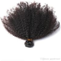 المنغولية الأفرو غريب مجعد الشعر نسج حزم الأسود الطبيعي