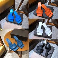 Женские дизайнерские сандалии модные роскошные женские сандалии на высоких каблуках квадратный носок сандалии Лидо сандалии для вечеринок дизайнерские ползунки тканые кожаные горки