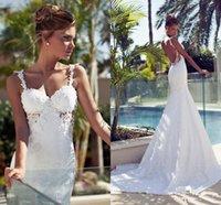 Bling Abiti da sposa 2019 New Mermaid Vintage Long Train economici Backless con abito da sposa in pizzo Sexy Garden Ball Gowns Pearl Beach 1202