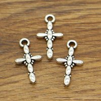 Croce Charms Religioso Christian Fascino Fascino 100 pz / lotto Tono Argento Antico 23x12mm BS1931