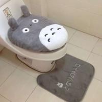 3 PC / gesetzte Karikatur-Entwurf Toilettensitzabdeckung Sets Totoro Badezimmer WC Deckelbezug Mat Closes Teppich