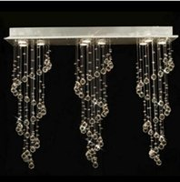 Qualität modernes K9 Kristall Moderne Decke Ligh LED-Kristall-Regen-Tropfen Spiral Pendelleuchte Esszimmer Beleuchtung Kronleuchter GU10 Birnen