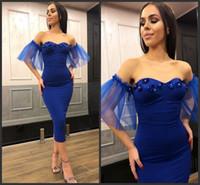 Bainha Sexy Royal Azul Curto Mulheres S Roupas Cocktail Party Vestidos Baratos Damas de Principais Vestidos Promovos 2019 Vestido de Casamento