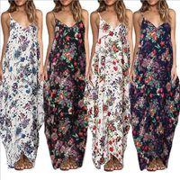Sleeveless langes Kleid lose Pullover mit V-Ausschnitt Leibchen legeren Kleidung Womens Designer-Kleider Sexy Blumenmuster