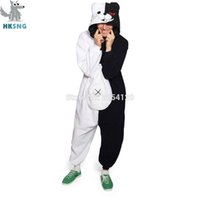 Traje de Cosplay HKSNG Kigurumi adulto Oso animal pijamas Danganronpa Negro White Bear Monokuma Bodies Monos T200110 Navidad