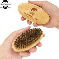 MOQ 50pcs OEM Logo personalizzato Bamboo BABRA BORSA BORSA BRISTLE Spazzola per la setola Ovale Spazzola per uomo per gli uomini Grooming Amazon Vendita calda