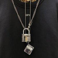 Männer Mode Anhänger Halskette Transparent Große Sperre mit Schlüsselübertreibung Rap Hiphop Punk Edelstahl Link Kette Anweisung Charm Schmuck