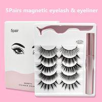 Manyetik Kirpikler Eyeliner ve Cımbız ile 5 Pairs Magnetics Yanlış Göz Kirpikler Sıvı Eyelinerler Makyaj Seti Yeniden Kullanılabilir Kirpik Hiçbir Tutkal Gerekli 3Sets