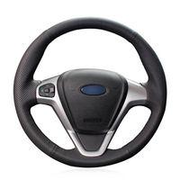 Для Ford Fiesta 2008-13 ручной работы крышка рулевого колеса черный искусственная кожа