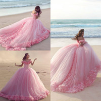 2019 Pink Quinceanera Dresses with Floral Appliques Off Shou...
