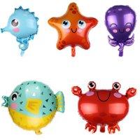 peces grandes pulpos Mundo del mar de dibujos animados de tiburón estrellas de mar hoja de globos feliz Golob fiesta de cumpleaños animal del océano globo juguete de vacaciones
