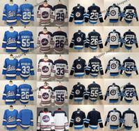 2019 대체 블루 위니펙 제트 55 Mark Scheifele 29 Patrik Laine 26 Blake Wheeler 33 Dustin Byfuglien Heritage White Hockey Jersey S-XXXL