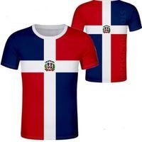 Доминика футболки логотип свободного изготовленный на заказ номер названия ДМА футболка флаг нации испанская Доминиканской республика Доминикана печать фото одежда