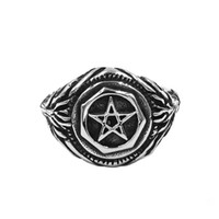 Free shipping Pentagram Amulet Biker Ring Stainless Steel Je...